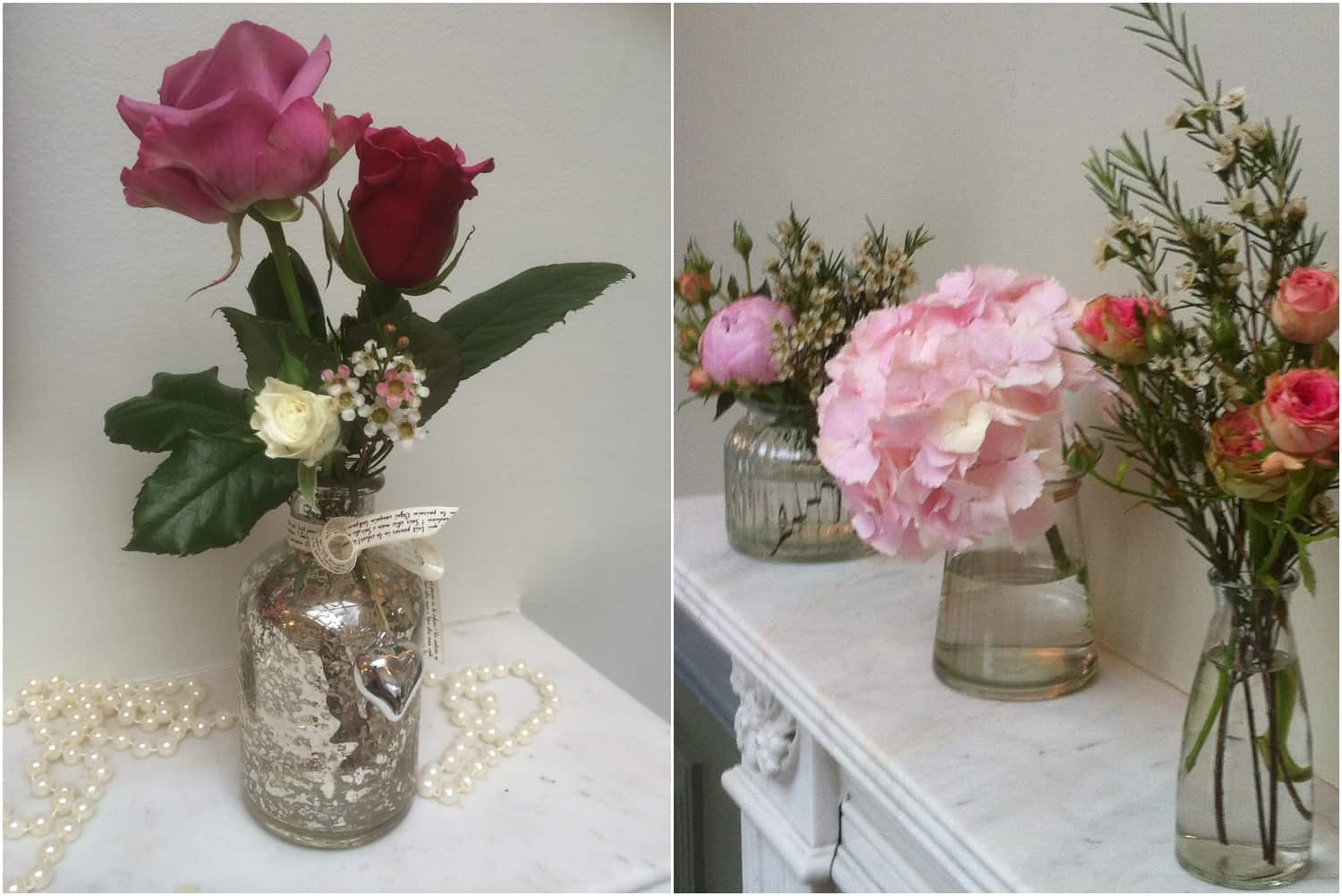 Small vases and jugs for more intimate decorations. By Sarah Pepper