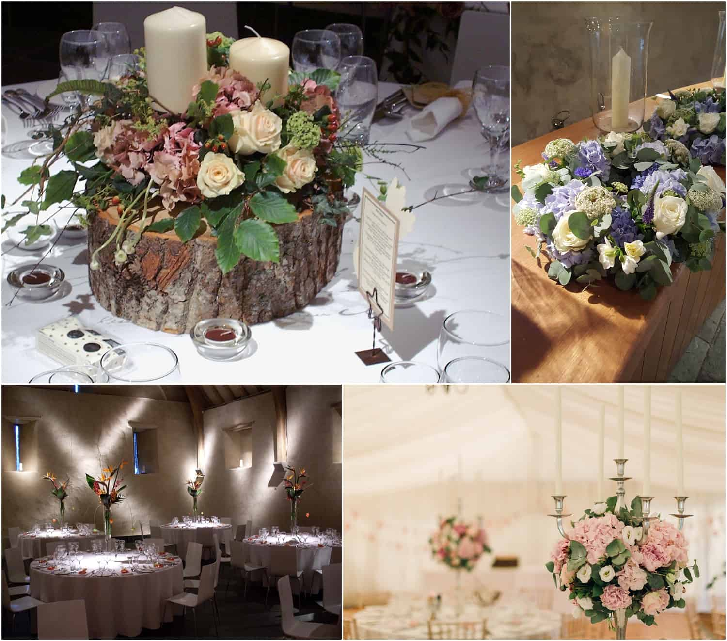 Table centres using flowers, candles and other natural inspirations. By Sarah Pepper