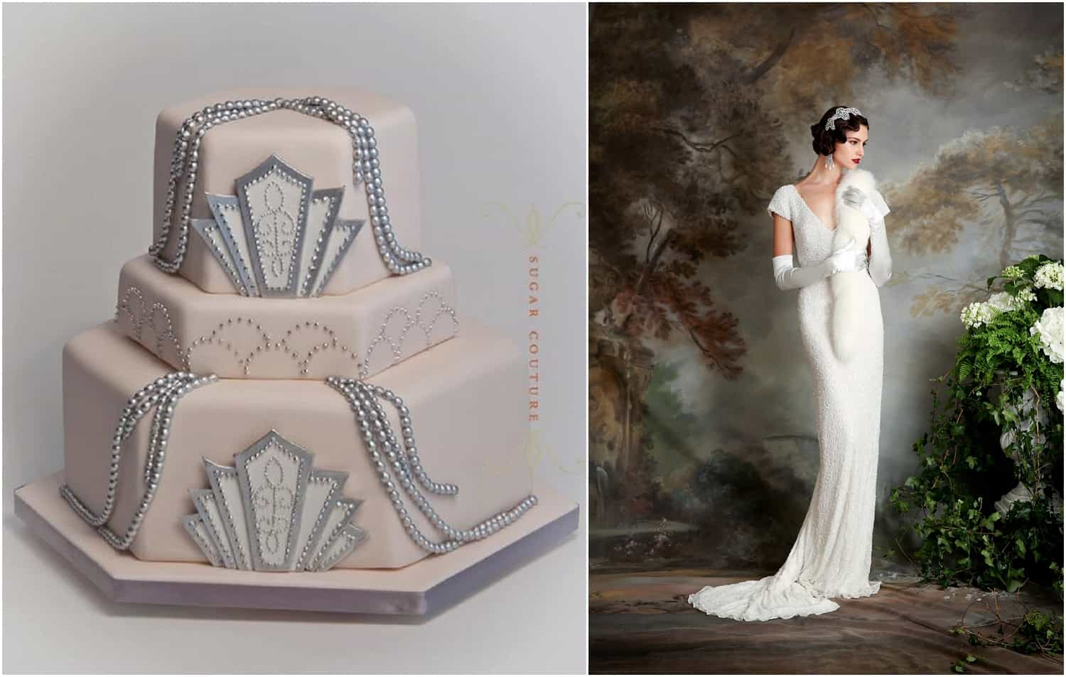 1920s wedding cake, 1920s wedding dress
