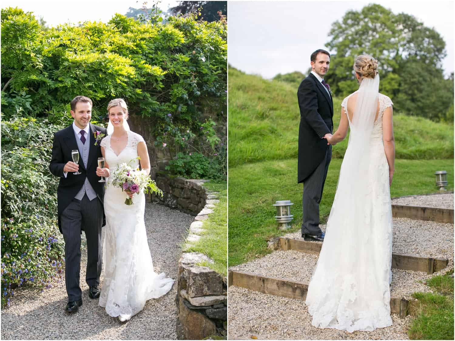 lace wedding gown, Devon wedding, barn wedding
