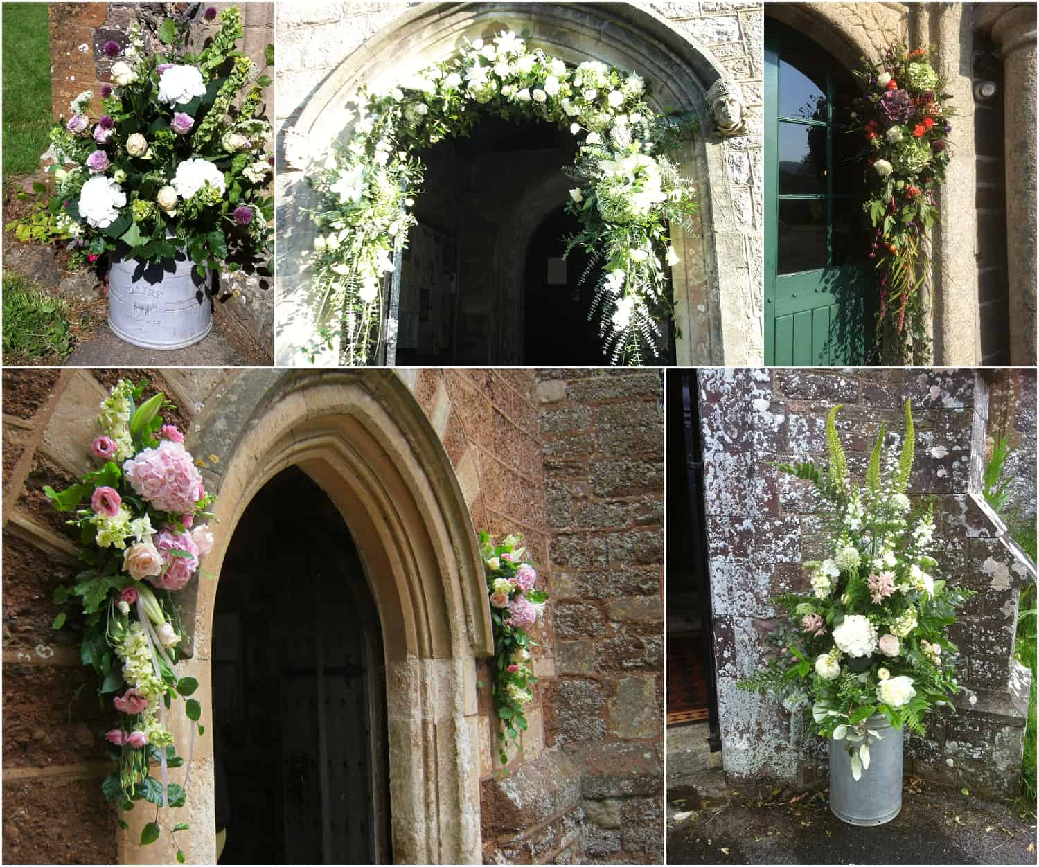 Large floral arches, milk churns and other larger features. By Sarah Pepper