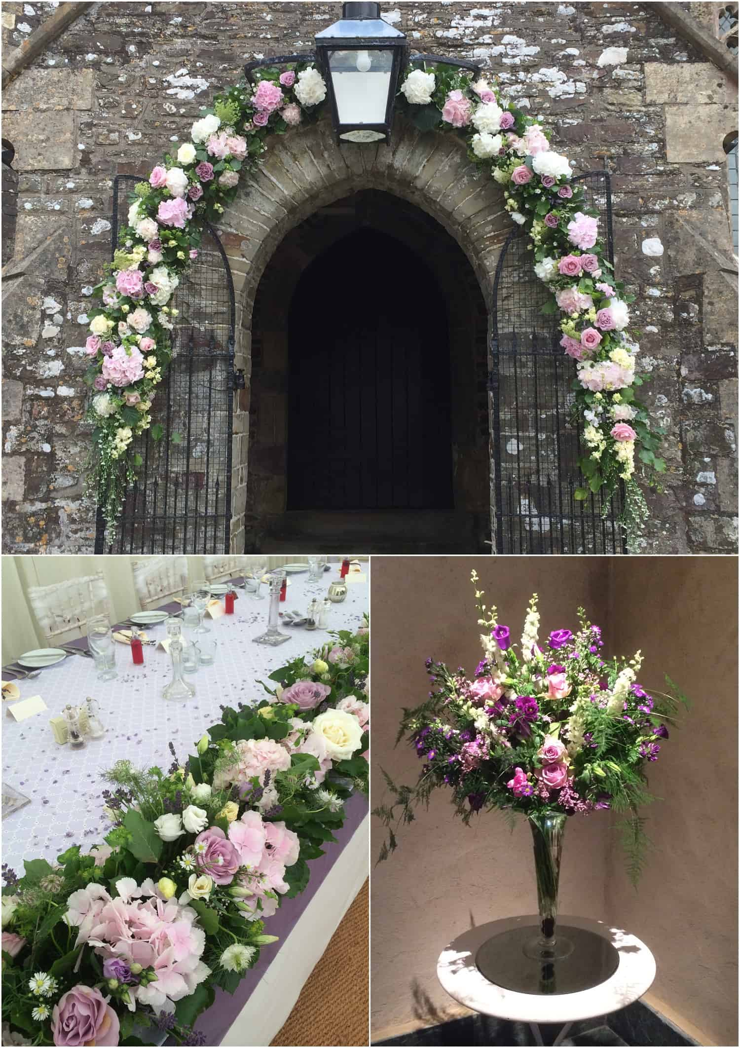 Larger floral features for archways and aisles. By Sarah Pepper