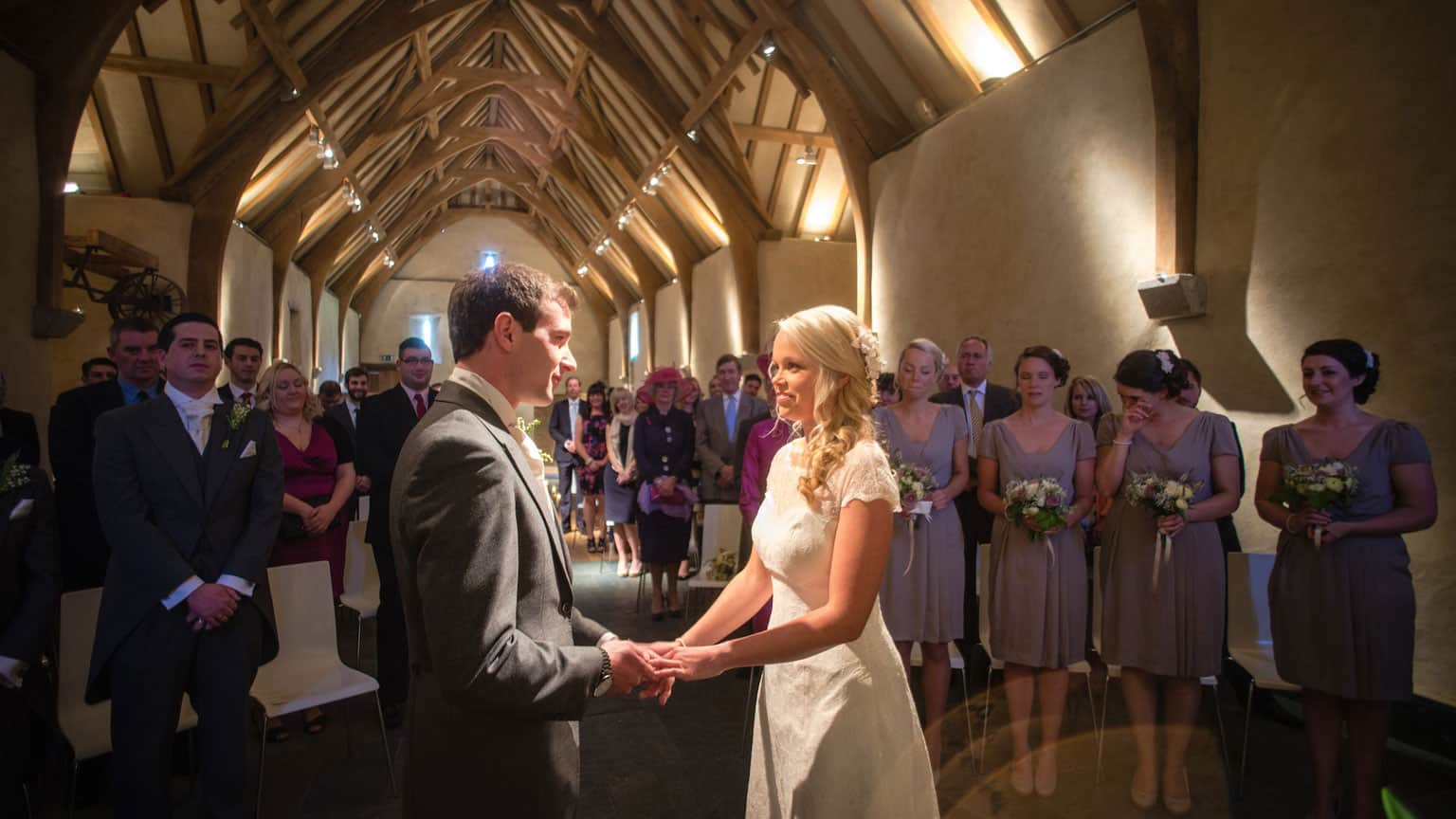 bride and groom, marriage ceremony, The Great Barn weddings