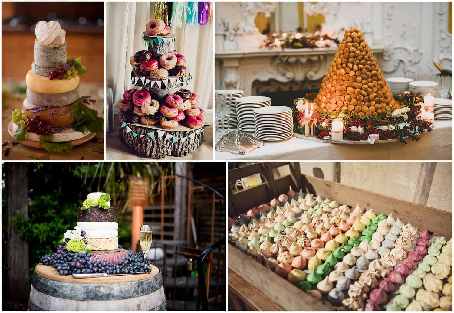 Alternative wedding cakes, dessert tables, cakes of cheese