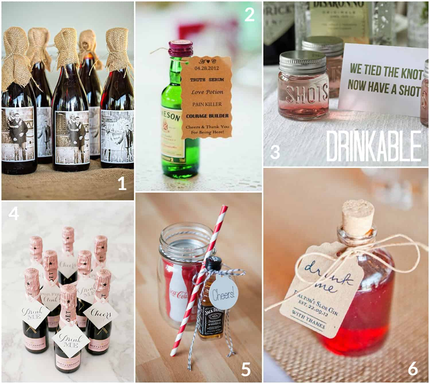 drinkable wedding favours, champagne, miniature bottles of spirits, Jack Daniels and Coke
