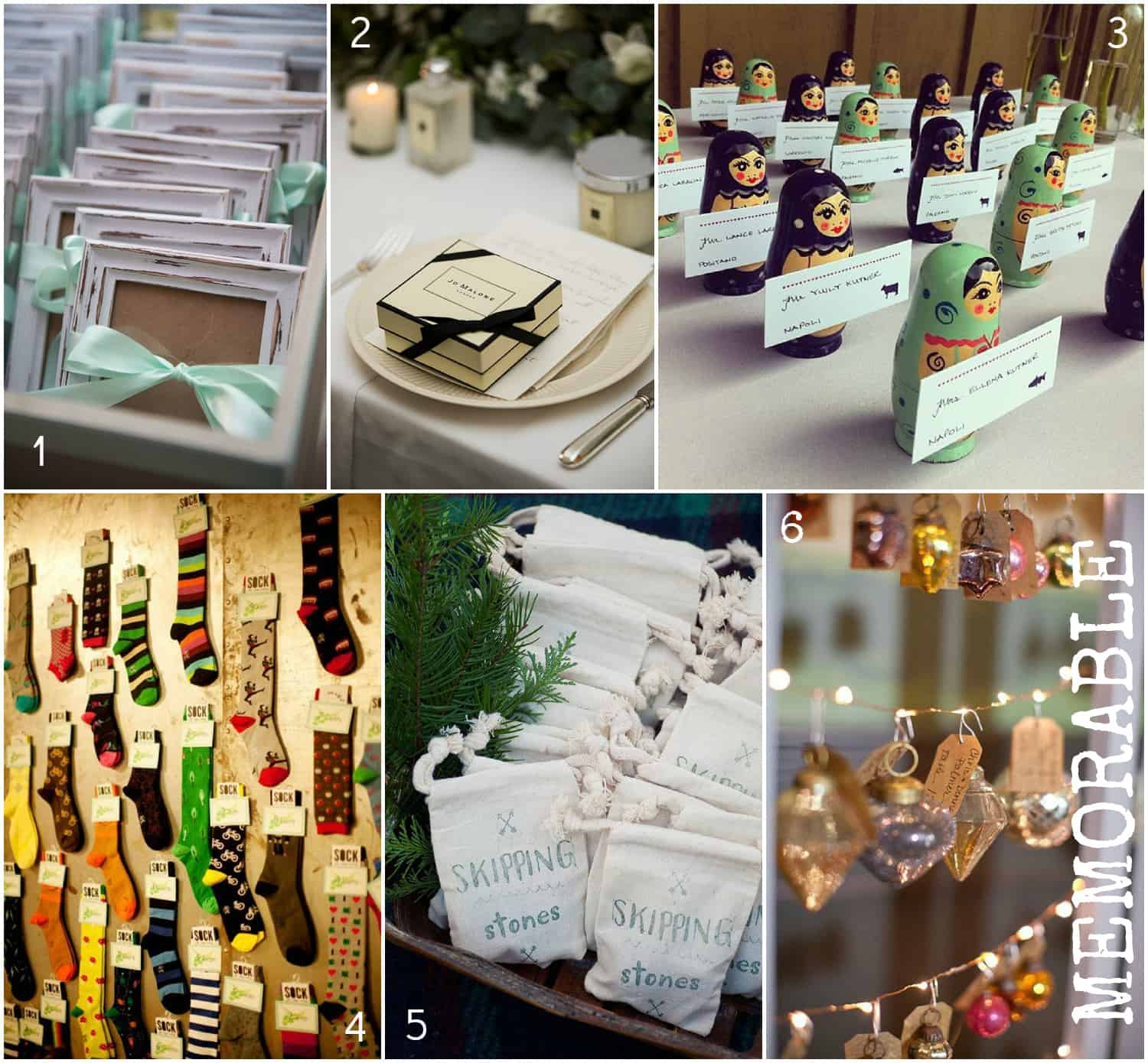 memorable wedding favours, socks, Jo Malone, picture frames, Russian dolls, Chrismas baubles, skimming stones