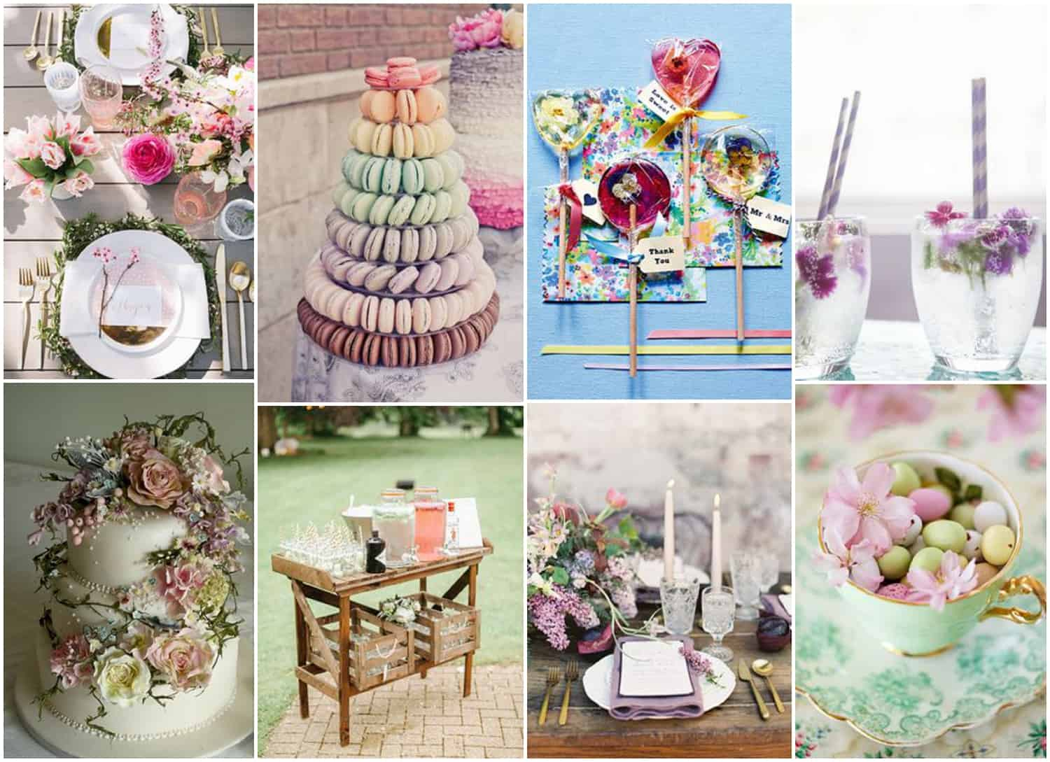 Spring food and table settings