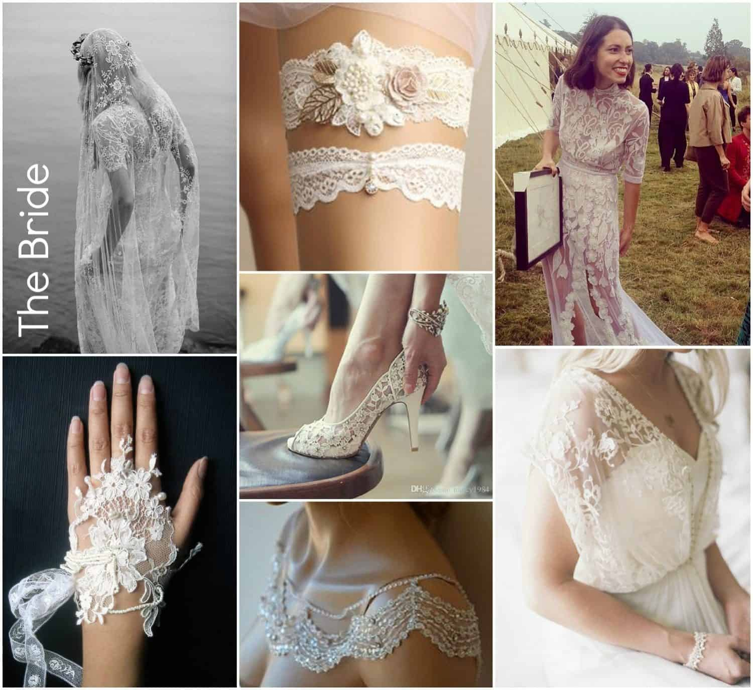 lace inspiration for the bride, garters, gowns, shoes, veils, gloves, overlays, jackets