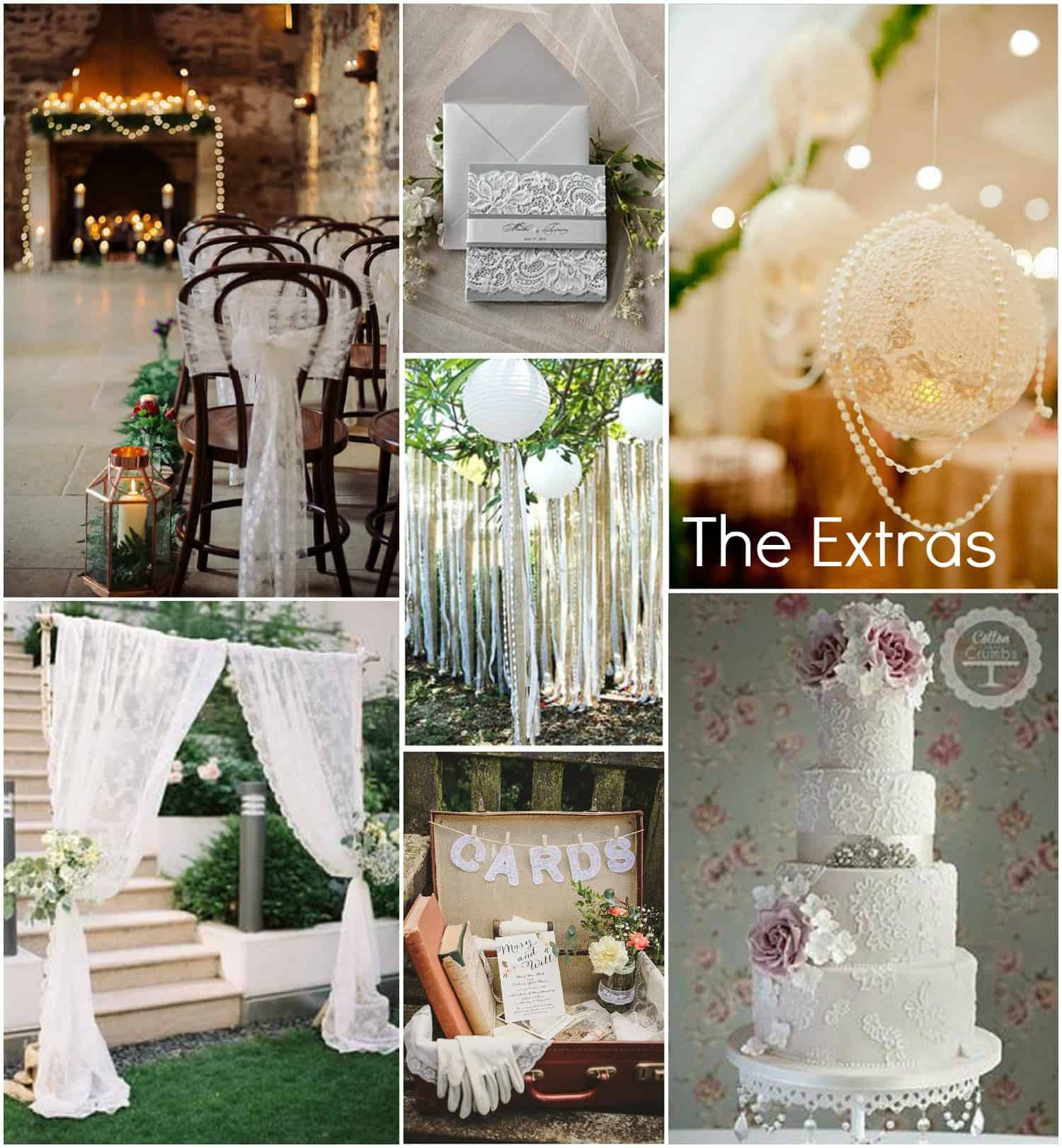 Lace extras - chair backs, stationery, wedding cake, curtains, wedding styling