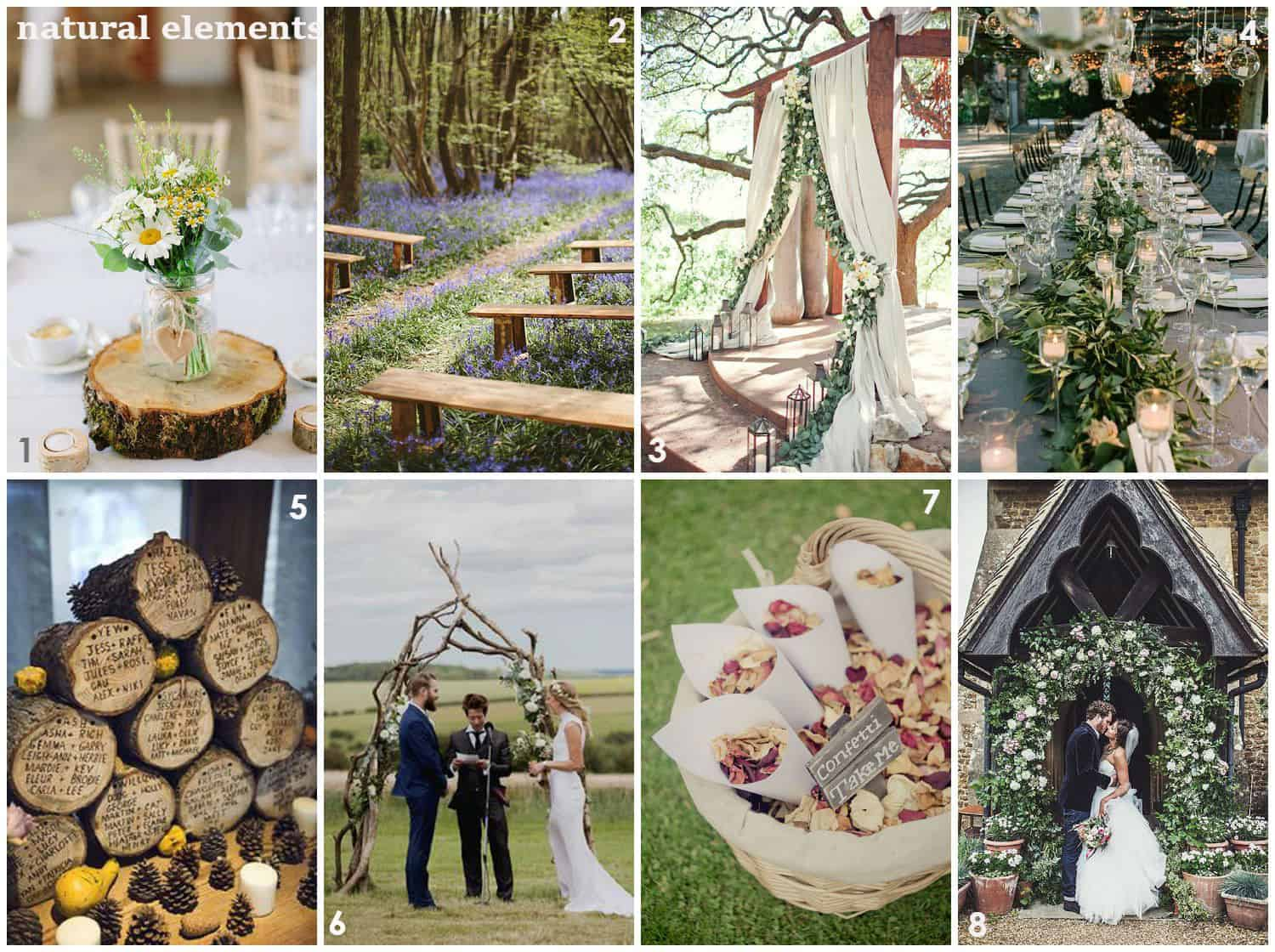 2019 wedding trends, natural elements, floral, stone, shell, wood, nature