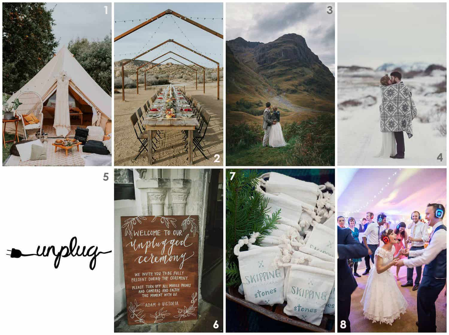 2019 wedding trends - Unplugged & Off Grid, elopement, silent disco, social media ban, no phones, no cameras, unplugged.